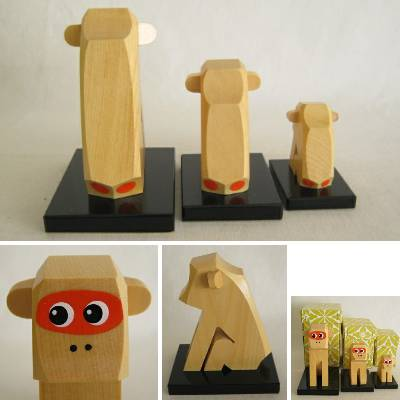 Monkey Wooden Japanese Folkcraft, Lot of 3