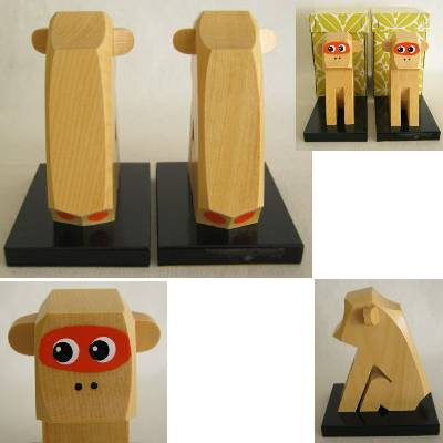 Monkey Wooden Japanese Folkcraft, Lot of 2
