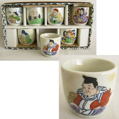 Seven Gods of Fortune Sake Cup Set
