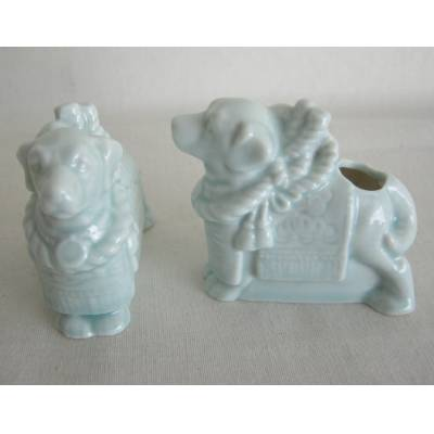 Ceramic Tosa Sumo Dog Toothpick Holder, MIB, Lot of 2