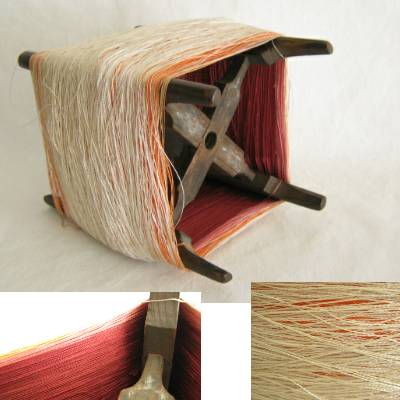Wooden Thread Spool (Itomaki), w Mixed Silk
