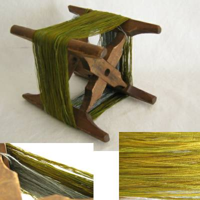 Wooden Thread Spool (Itomaki), w Green/Gold Silk