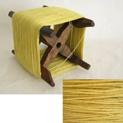 Wooden Thread Spool (Itomaki), w Yellow Cotton