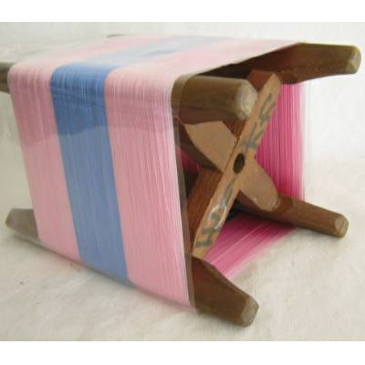 Wooden Thread Spool (Itomaki), w Pink & Blue Silk, Mint