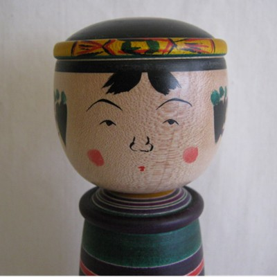 Sato Yajiro Traditional Kokeshi, Blue Stocky, 6-7/8""