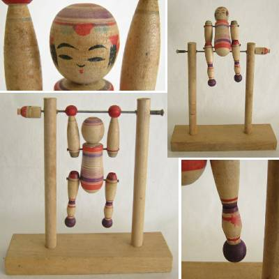 Yajiro Traditional Kokeshi on a Horizontal Bar, #1