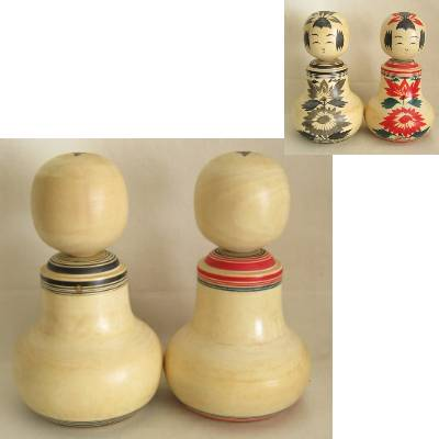 Narugo Traditional Kokeshi Nemariko Pair